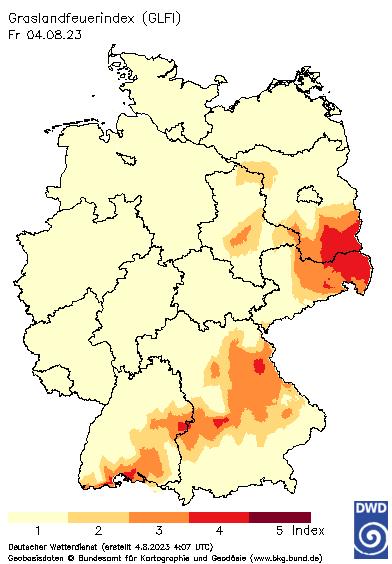 © DWD | Internetwetter -wissen, wie das Wetter wird- | Grasland - Feuerindex (GLFI) in Deutschland
