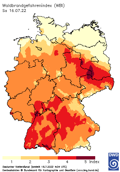 Deutschlandkarte mit dem Tageswert des Waldbrand-Gefahrenindex WBI, heute