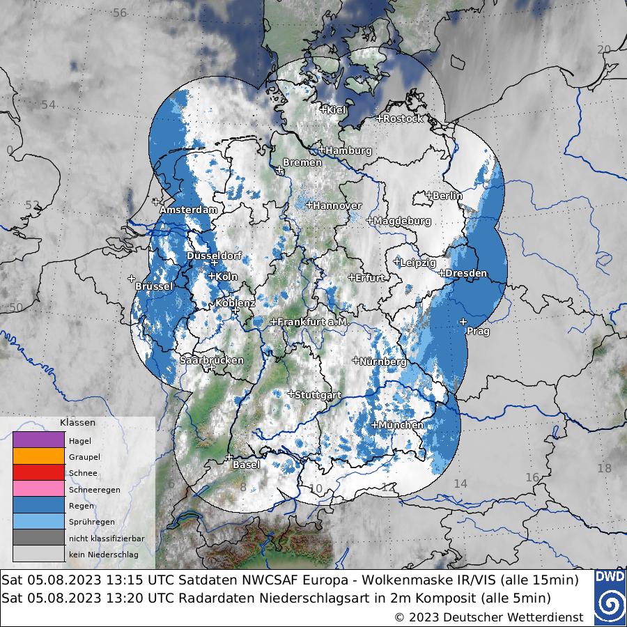 Satellitenbild - Wolken + Niederschlagsart