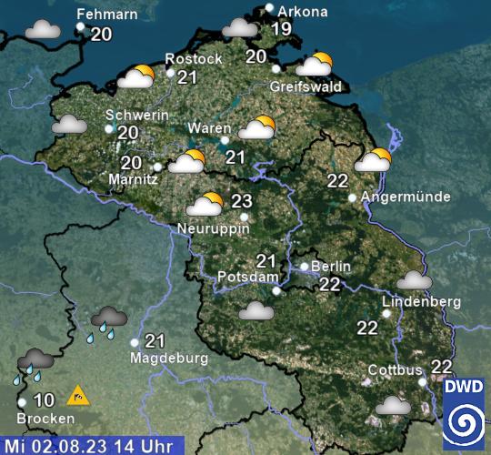aktuelles Wetter und aktuelle Temperatur Region Nordost